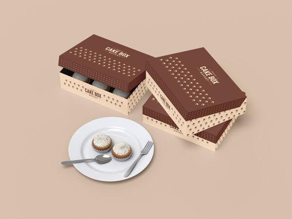 美味的纸杯蛋糕包装模型