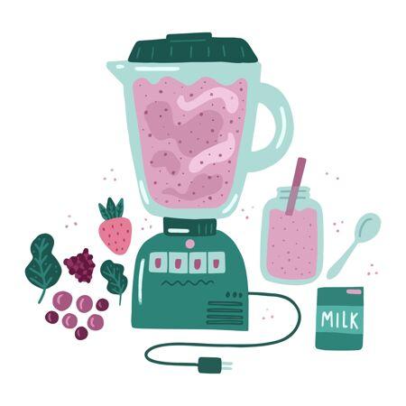 手绘果汁在搅拌机玻璃插图