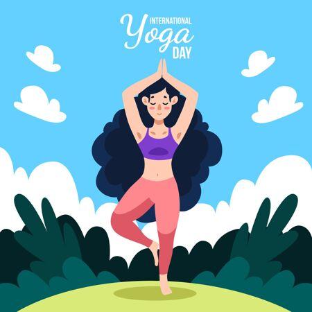 手绘国际瑜伽日插图