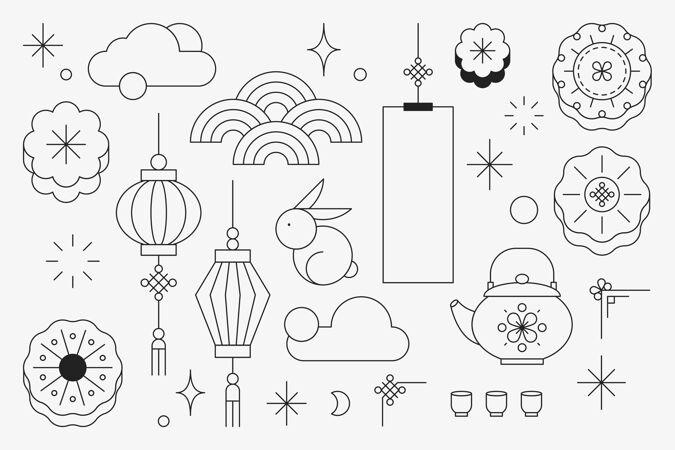 中国中秋节设计元素集
