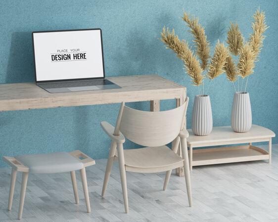 办公桌上的笔记本电脑模型
