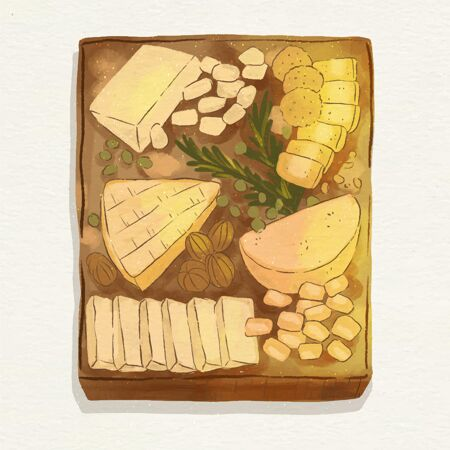 水彩画奶酪板插图与伴奏