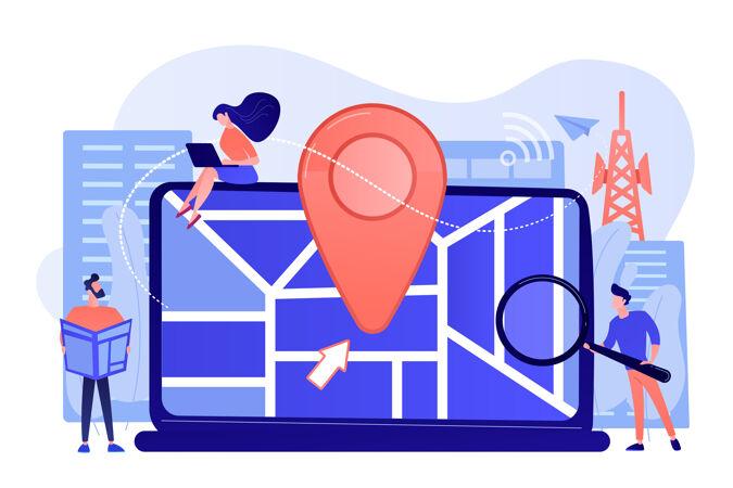 智能手机的数字gps应用城市地图上的地理标签标志