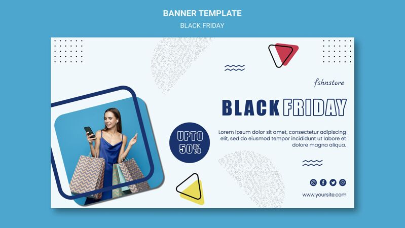 黑色星期五横幅模板与妇女和三角形