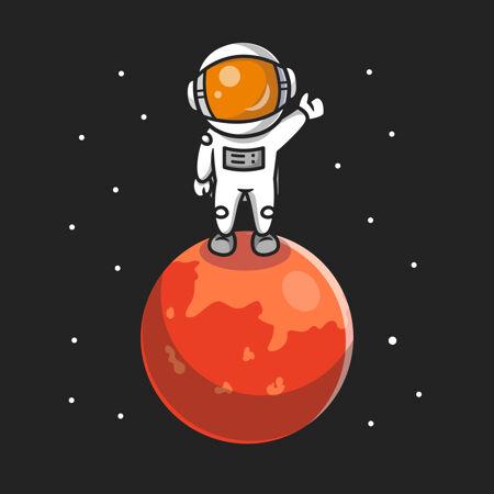 可爱的宇航员站在行星卡通图标插图