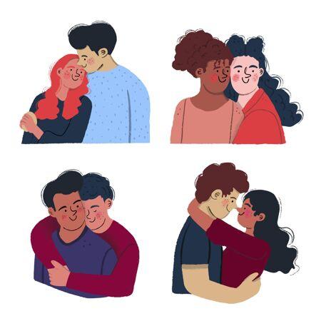 手绘情人节情侣系列