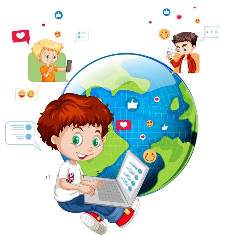 儿童与社会媒体的元素对白色
