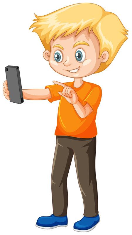 穿着橙色衬衫的男孩用智能手机卡通人物隔离在白色背景上